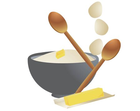 Wooden spoons, eggs, flour, and butter in an isolated design