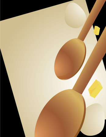 tilted: Wooden spoons, eggs, and butter slices with a tilted paper background