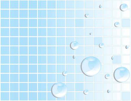 Blue tile background with reflective water drops