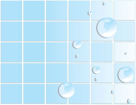 damp: Blue tile background with reflective water drops