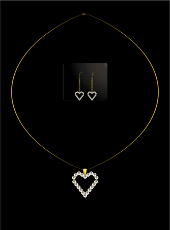 Gold and diamond heart necklace with matching earrings Vettoriali