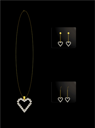 Gold and diamond heart necklace with matching earrings Vector
