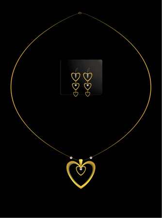 diamond necklace: Nested gold heart and diamond necklace with earrings
