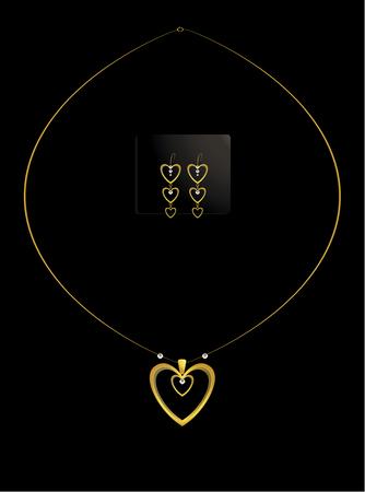 Verschachtelte gold Herz und Diamant-Kette mit Ohrringe Standard-Bild - 6296553