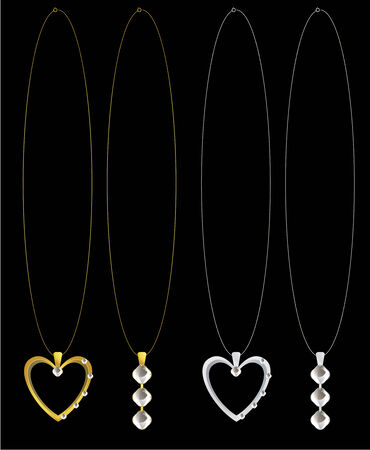 gold and silver heart and diamond necklaces on a black background