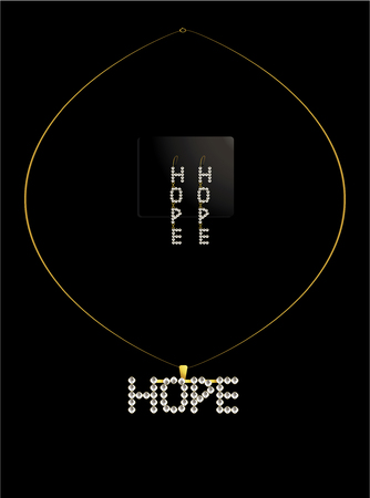diamond earrings: Diamond necklace spelling out hope with matching earrings
