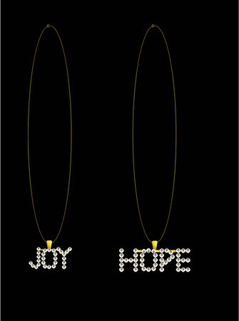 gold and silver necklaces that spell out joy and hope
