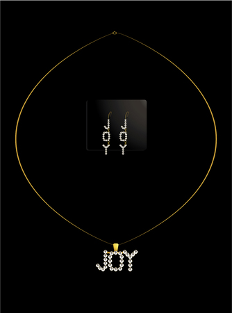 diamond earrings: Diamond necklace spelling out joy with matching earrings