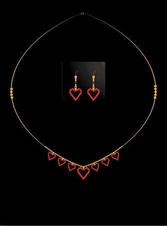 Red heart  necklace with earrings