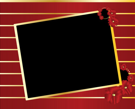 Gold tilted rectangle with blank black center on a gold and red striped background Illustration