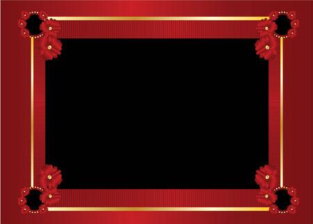 Cadre rouge et or avec Centre de noir blanc sur fond rouge  Banque d'images - 6296554