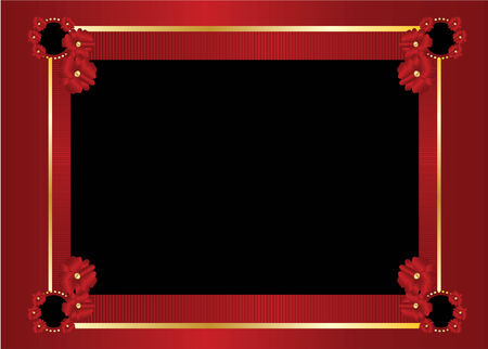 black: Gold and red frame with blank black center on a red background