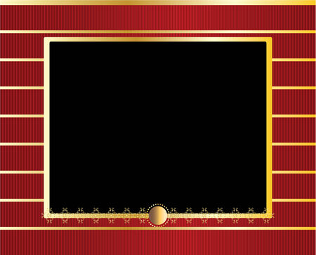 Gold frame with blank black center on a gold and red striped background Çizim