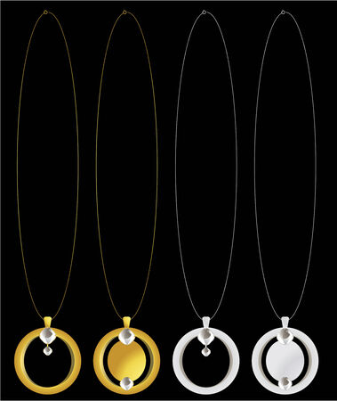 Circular pendants with diamonds on necklace chains Ilustracja