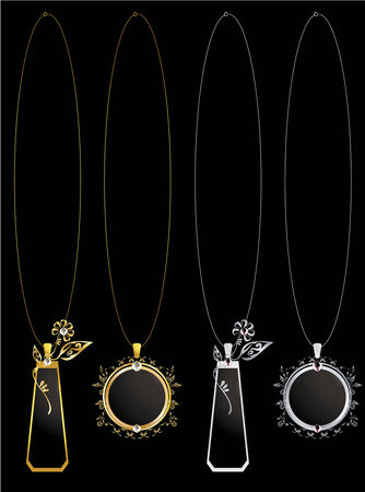 Circular and floral pendant necklaces with diamonds and small details