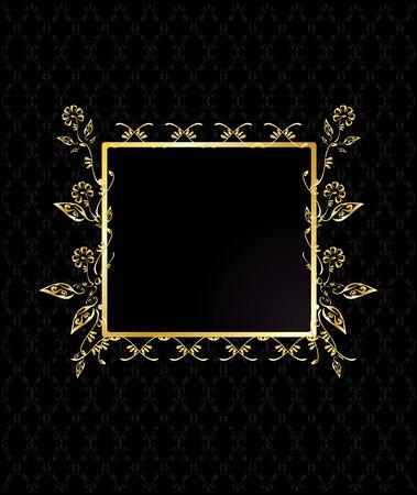 square shape: Gold square floral frame on a patterned black background