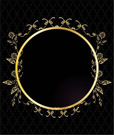 Gold circular floral frame on a patterned black background