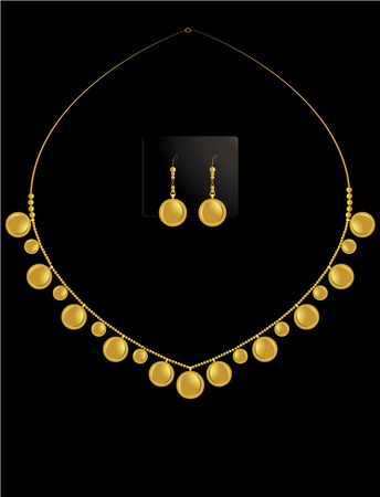 Gold coin necklace with matching earrings in set Vector