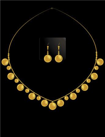 Moneda de oro de collar con coincidentes aretes en conjunto Foto de archivo - 6296693