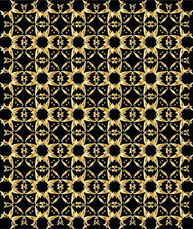 Abstract repeated gold pattern on a black background