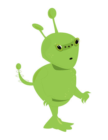 Green alien with five eyes on a white background