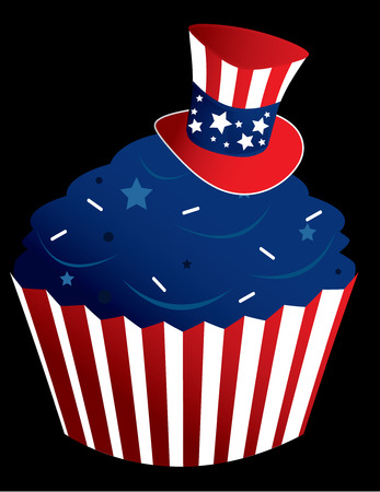American themed cupcake in a striped wrapper with sprinkles