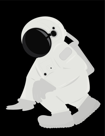 Astronaut in a kneeling position isolated on a black background