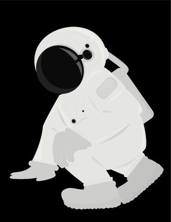 Astronaut in een knielende positie geïsoleerd op een zwarte achtergrond