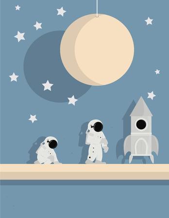 staande en knielende astronauten met schip op een ster achtergrond met roze planeet en witte sterren