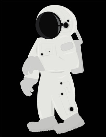 spacesuit: Astronaut in a standing position isolated on a black background