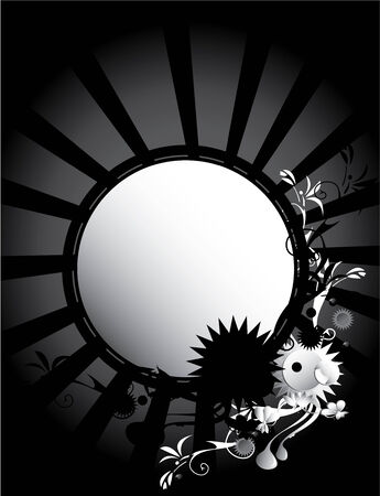 Black and white background with circular center and abstract designs Çizim