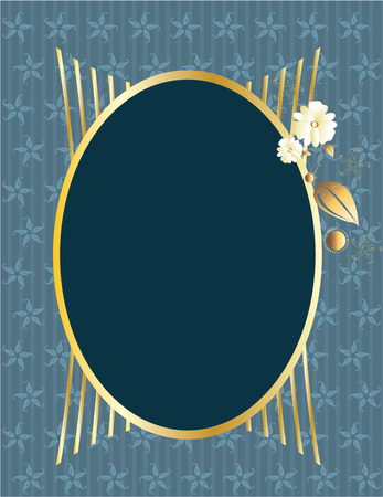 blue gold oval frame on a blue patterned background Illustration