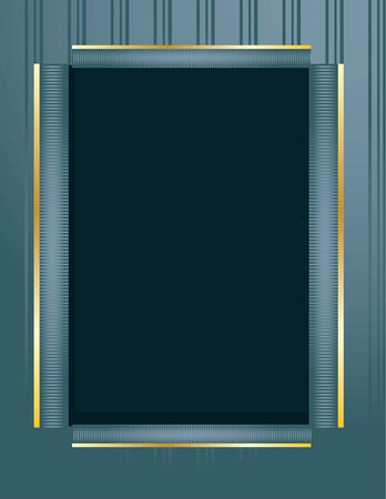 Blue gold rectangular frame on a blue striped background Illusztráció