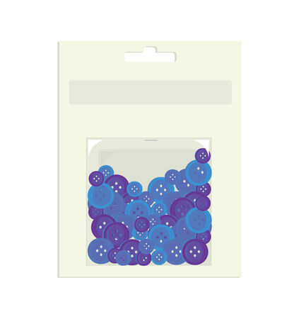 Blue buttons in paper and plastic container