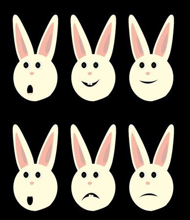 Happy sad and shocked rabbit faces