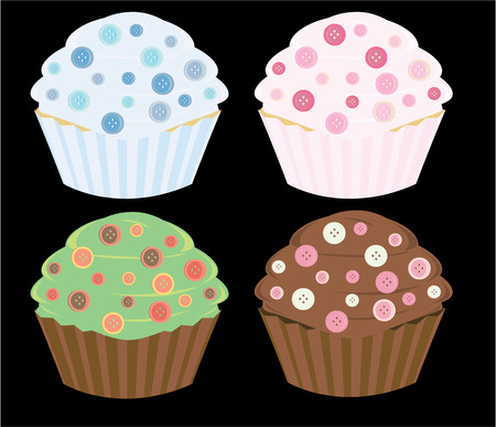 Button cupcakes in four color combinations