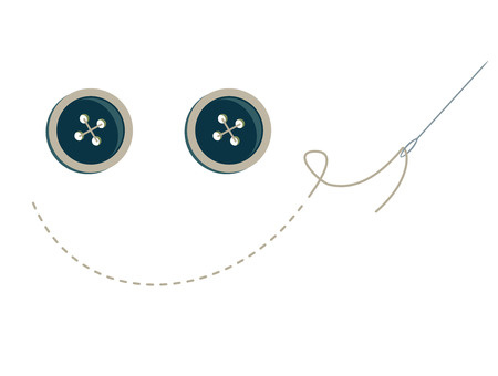 blue buttons with stitching and needle making a smiley face Stock Illustratie