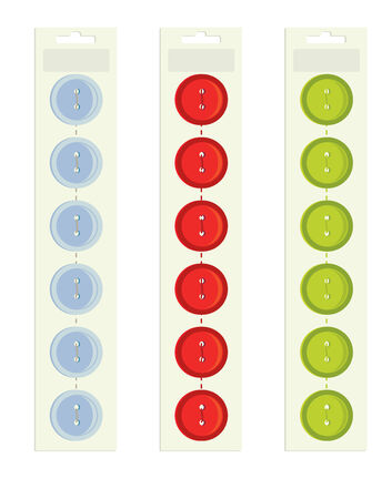 buttons on a paper backing on a white background Illustration