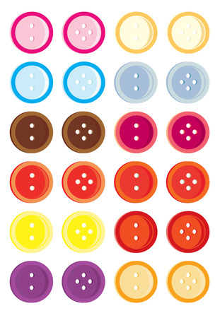 Isolated buttons with two and four holes each