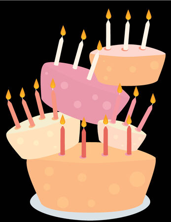 five birthday cakes with candles stacked on a black background Illustration