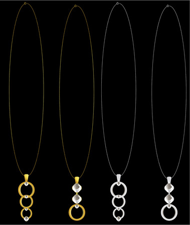 Circular pendants with diamonds on necklace chains Çizim