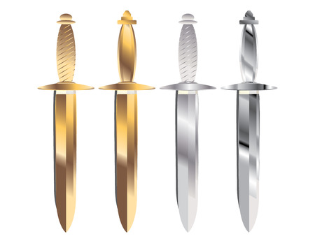 gold and silver handled daggers in sheaths with gray shadows on a white background Illustration