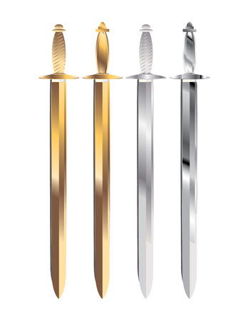 gold and silver handled swords in sheaths with gray shadows on a white background