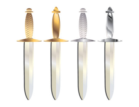 gold and silver handled daggers with gray shadows on a white background Illustration