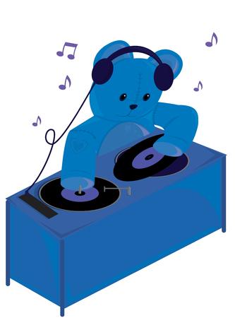 Blue teddy bear djing on a white background