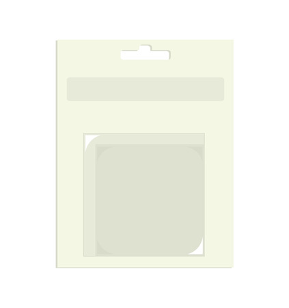 Paper product packaging with empty plastic area with slight shadow on a white background