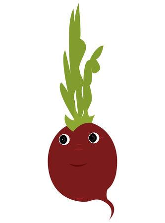 Happy radish cartoon on a white background