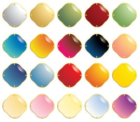 Conjunto multicolor de piedras preciosas suaves con sujetadores de oro aislados en un fondo blanco  Foto de archivo - 6468231