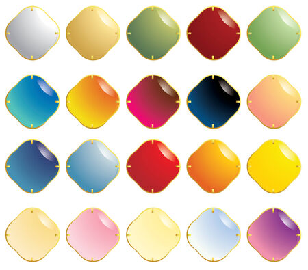 Multicolor set of smooth gemstones with gold fasteners isolated on a white background