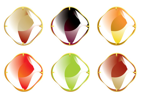 Multicolor set of shiny faceted gemstones with gold fasteners isolated on a white background Ilustrace